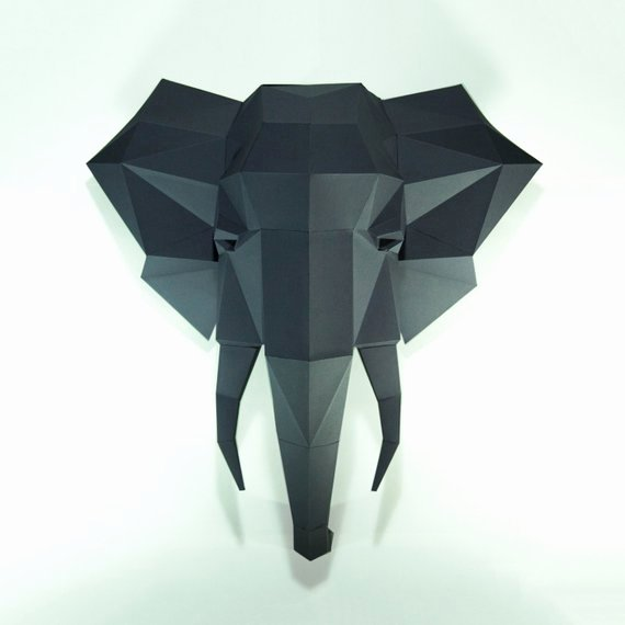 Cardboard Elephant Head Template Lovely Elephant Headelephant Paper Elephant Lowpoly Paper Trophy