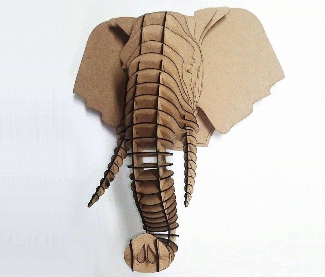 Cardboard Elephant Head Template New Éléphant Tête 3d Puzzle Animal Tête Mdf éléphant Tête