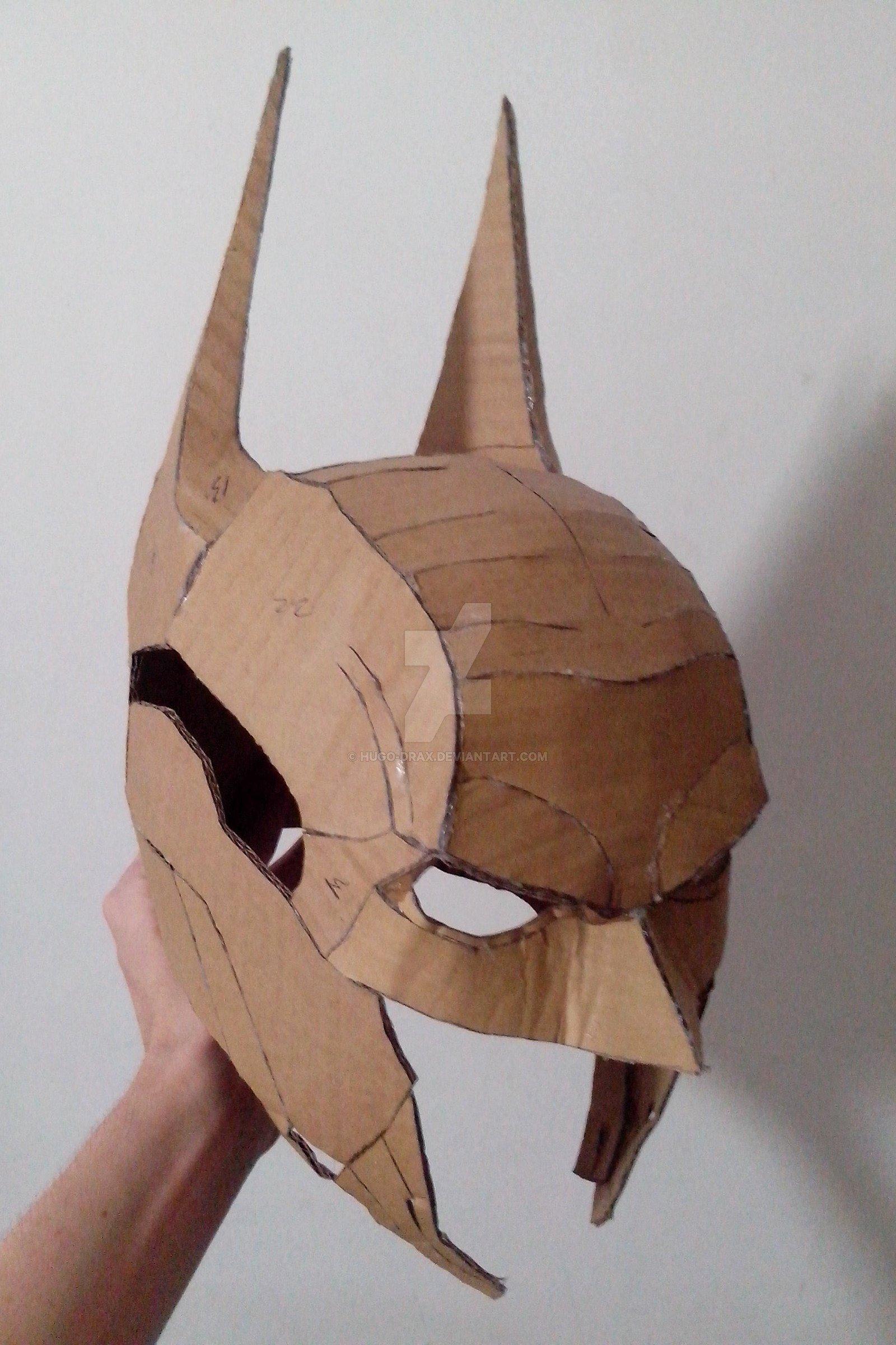 Cardboard Knight Helmet Template Awesome Arkham Knight Papercraft Helmet by Hugo Drax On Deviantart