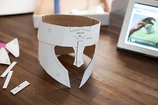 Cardboard Knight Helmet Template Unique Crafteeo Diy Cardboard Warrior Helmets