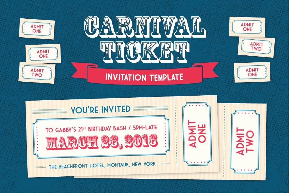 Carnival Invitation Template Free Awesome Carnival Ticket Invitation Template Invitation Templates