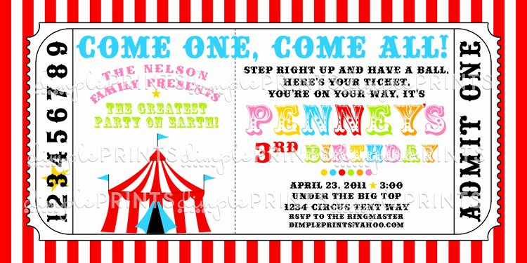 Carnival Invitation Template Free Beautiful Circus Tent Ticket Printable Invitation Dimple Prints Shop