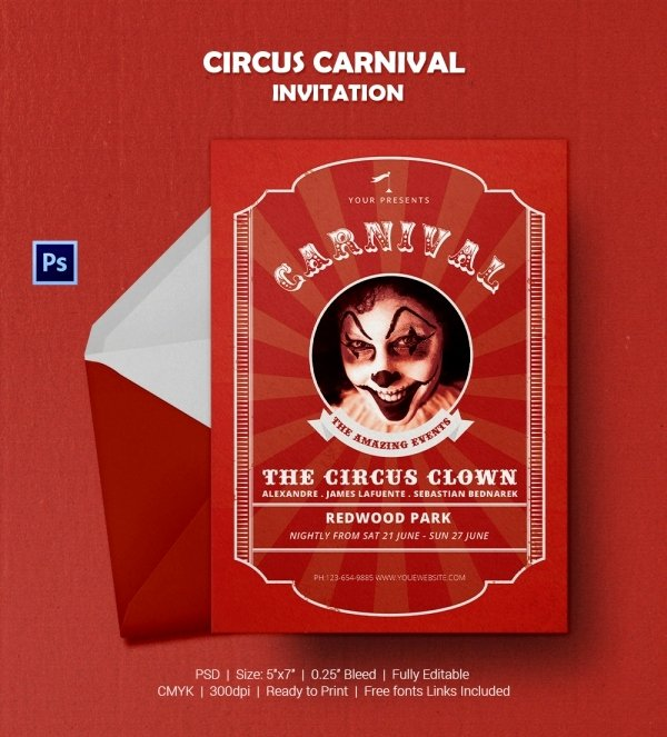 Carnival Invitation Template Free Best Of Circus Party Invitation Template 24 Free Jpg Psd