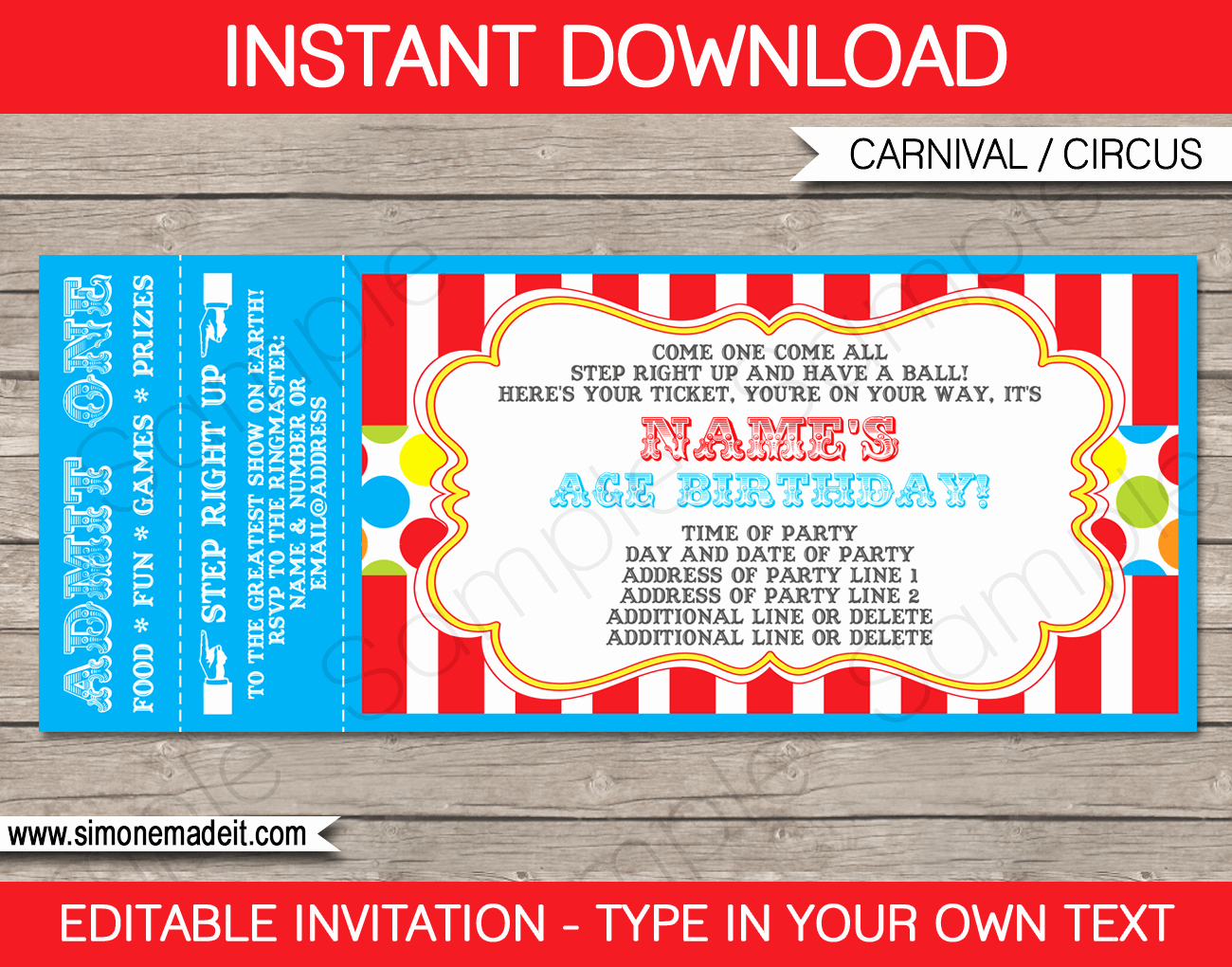 Carnival Invitation Template Free Lovely Carnival Party Ticket Invitation Template