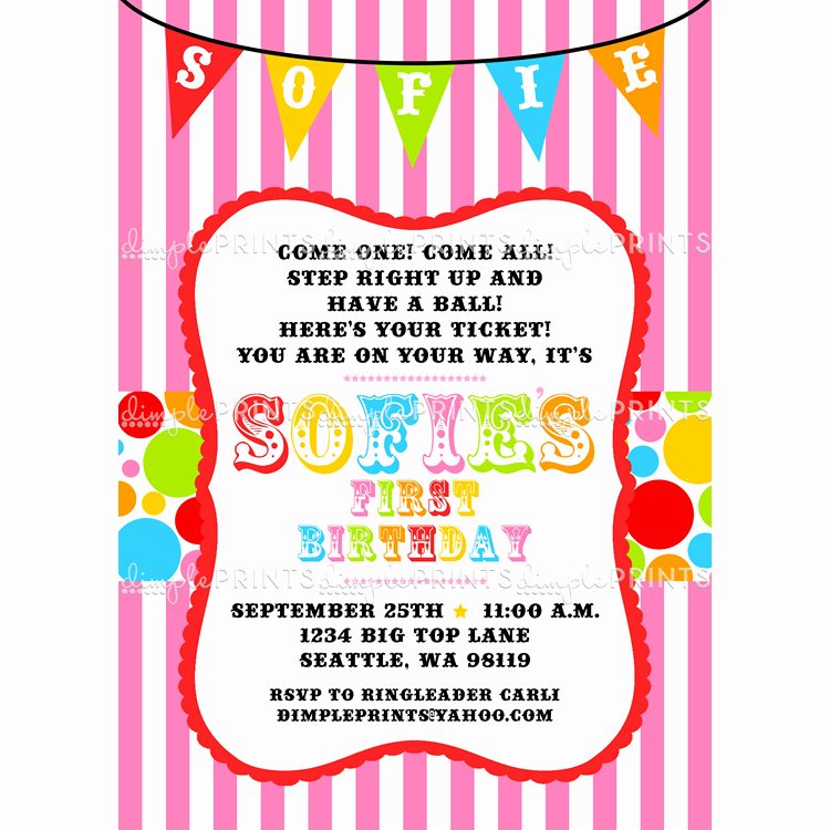 Carnival Invitation Template Free Lovely Free Printable Carnival Birthday Party Invitations