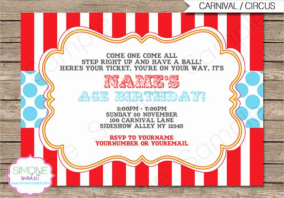 Carnival Invitation Template Free New Circus Party Invitation Template – 23 Free Jpg Psd