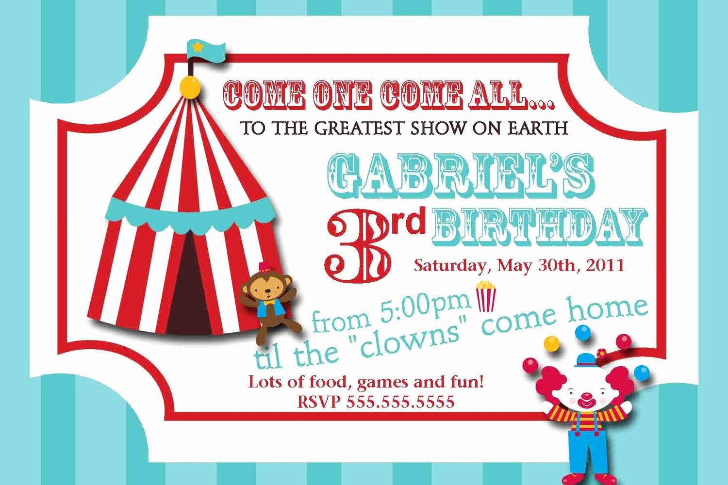 Carnival Invitation Template Free Unique Carnival Circus Ticket Birthday Invitation
