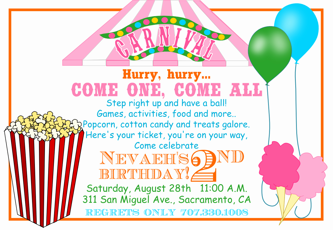 Carnival Invitation Templates Beautiful 40th Birthday Ideas Carnival Birthday Invitation Template