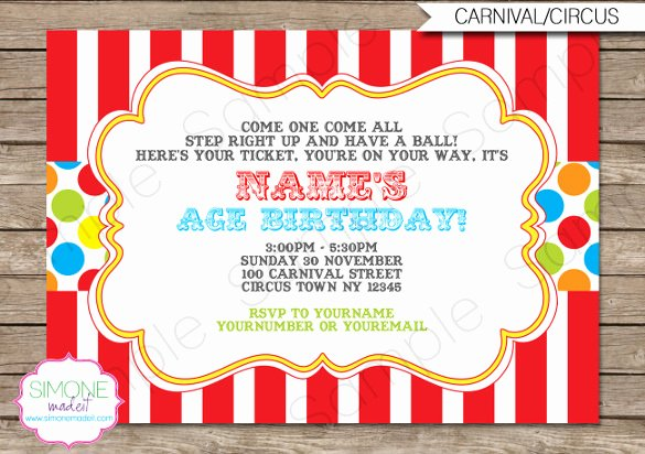Carnival Invitation Templates Fresh 27 Carnival Birthday Invitations Free Psd Vector Eps