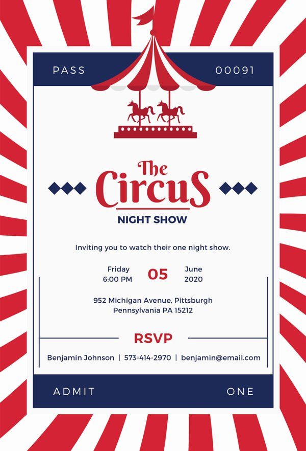 Carnival Invitation Templates Fresh Circus Party Invitation Template 24 Free Jpg Psd