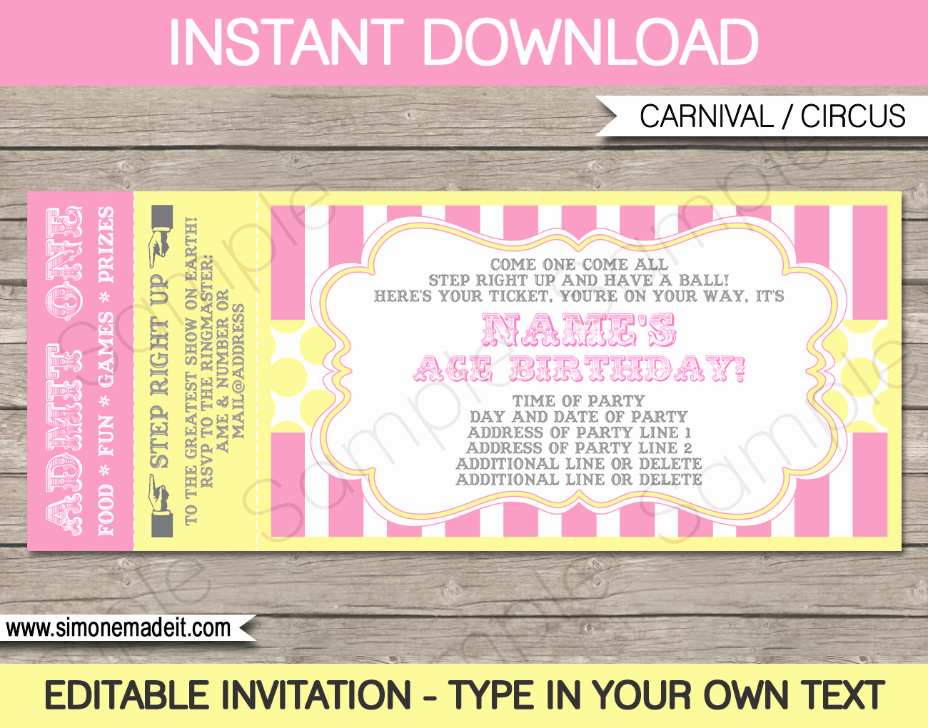 Carnival Invitation Templates Inspirational Carnival Birthday Ticket Invitation Template