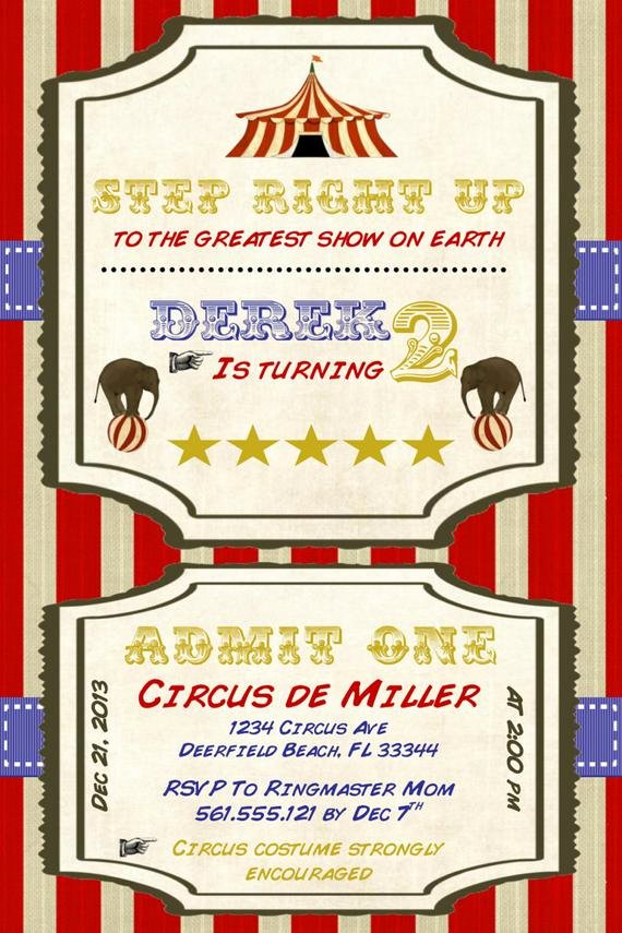 Carnival Invitation Templates Inspirational Circus Birthday Invitation Template