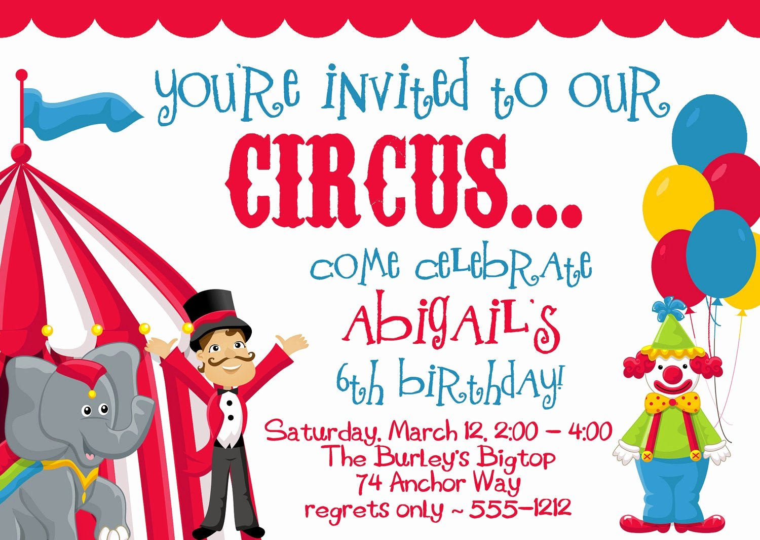 Carnival Invitation Templates Inspirational Circus Carnival Birthday Party Invitations by