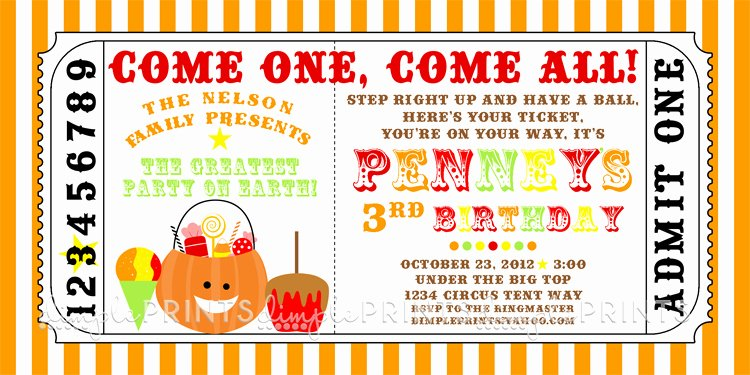 Carnival Invitation Templates Inspirational Fall Carnival Printable Ticket Invite Dimple Prints Shop