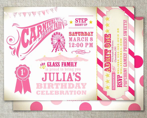 Carnival Invitation Templates Lovely 27 Carnival Birthday Invitations Free Psd Vector Eps