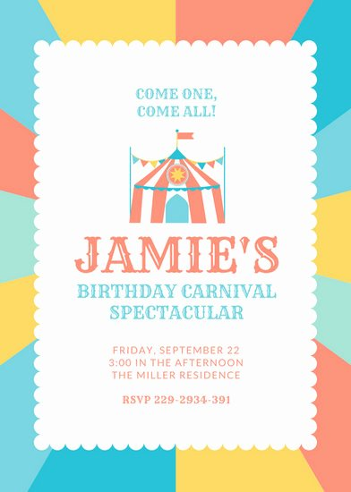 Carnival Invitation Templates Luxury Customize 40 Circus Invitation Templates Online Canva