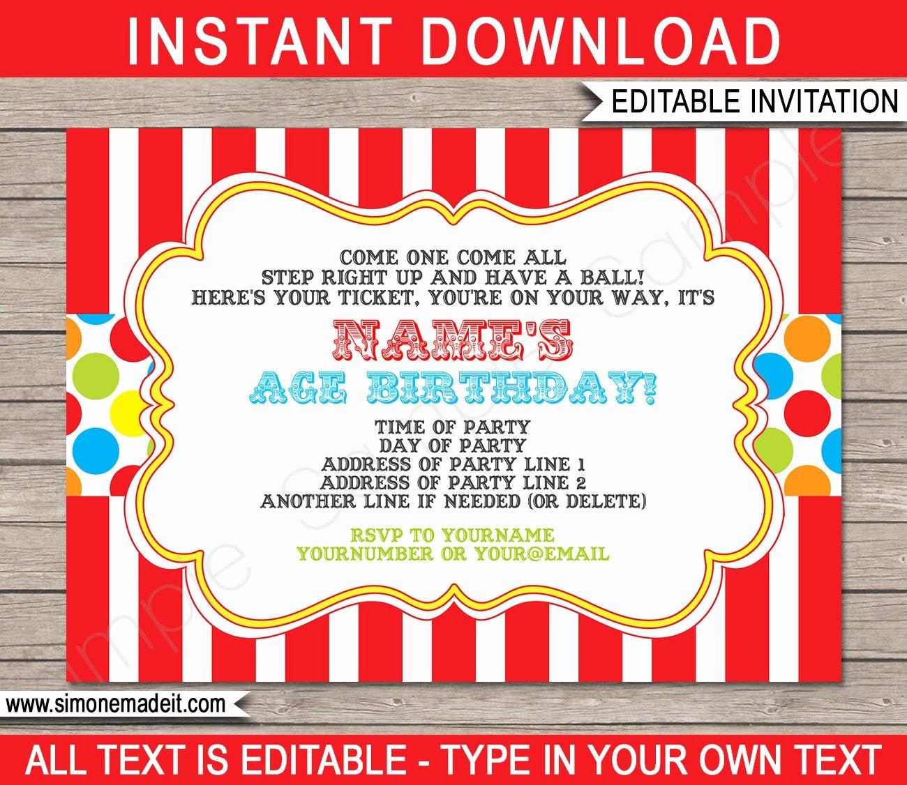 Carnival Invitation Templates New Carnival Invitation Template Birthday Party Carnival Party