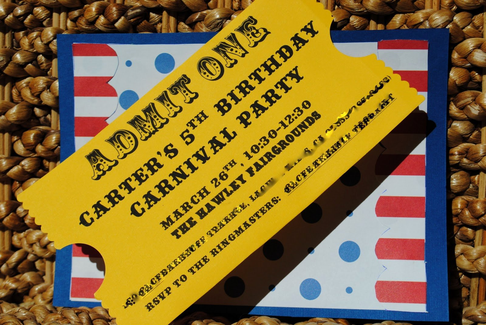"Carnival Ticket Birthday Invitations Awesome Calico and Cupcakes ""ticket"" Invitation Tutorial"