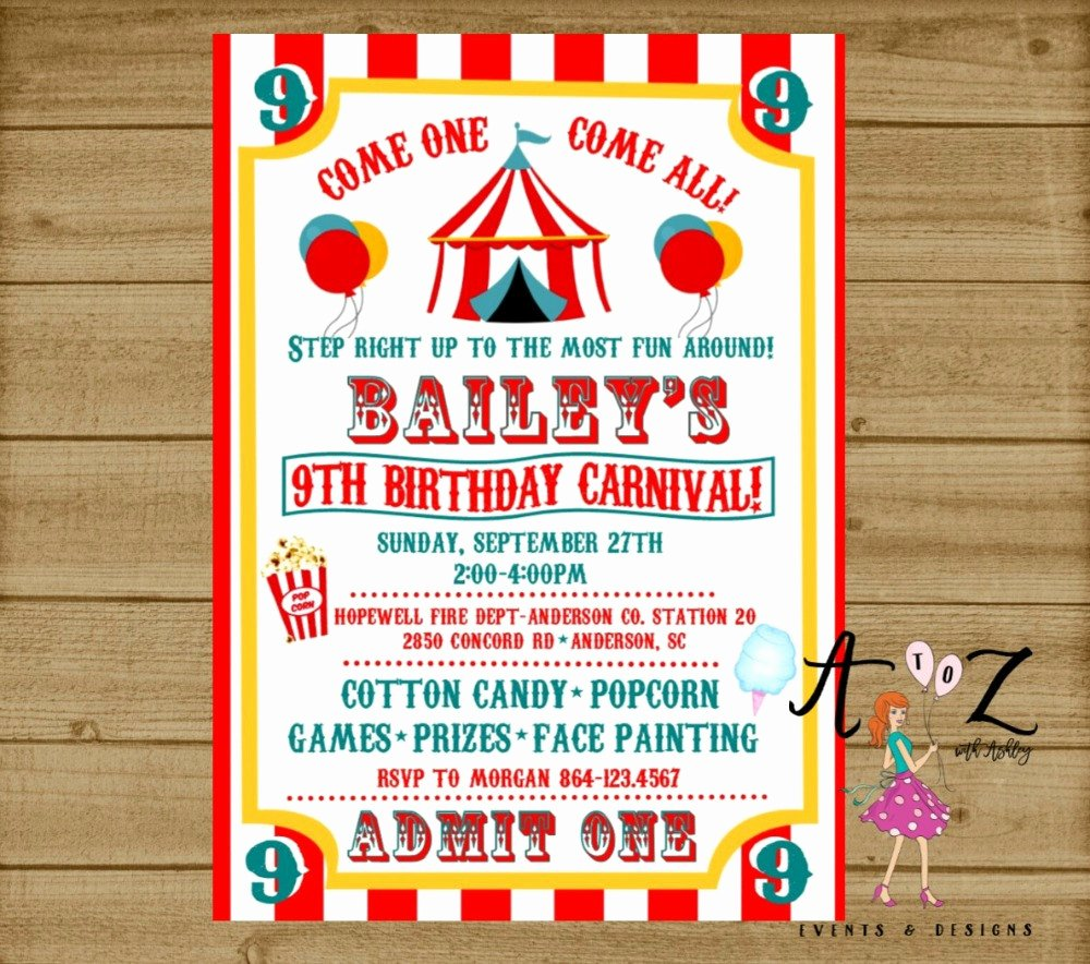 Carnival Ticket Birthday Invitations Awesome Carnival Birthday Invitation Carnival Party Carnival Ticket