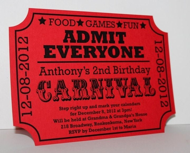 Carnival Ticket Birthday Invitations Awesome Carnival Birthday Ticket Invitation