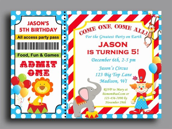 Carnival Ticket Birthday Invitations Awesome Circus Carnival Ticket Birthday Invitation Printable or