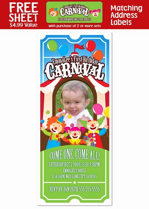 Carnival Ticket Birthday Invitations Beautiful 6 Carnival Circus Clown Birthday Ticket Invitations