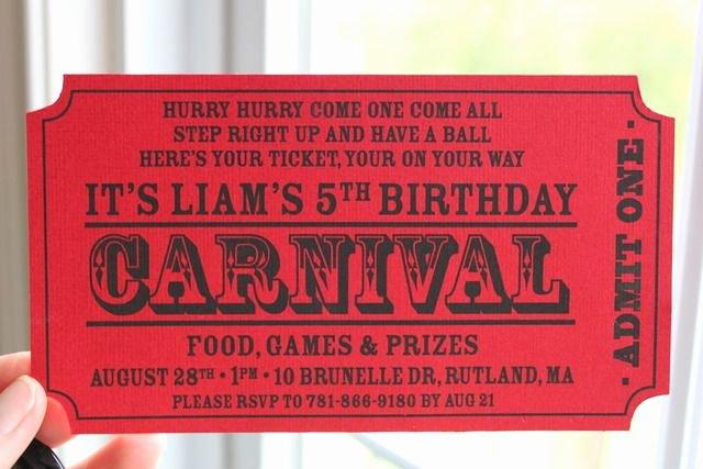 Carnival Ticket Birthday Invitations Best Of Carnival Birthday Party Ideas Carnival Party