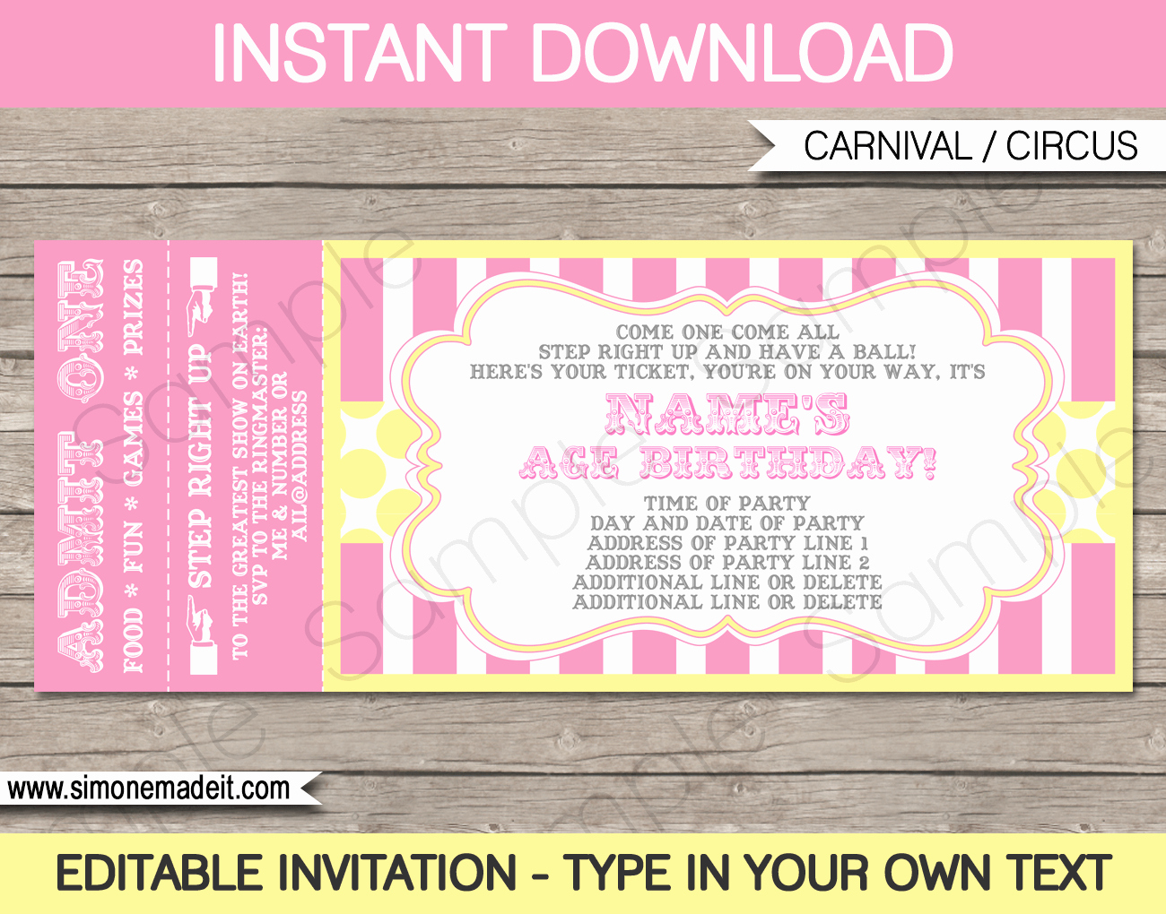 Carnival Ticket Birthday Invitations Best Of Carnival Birthday Ticket Invitations Template