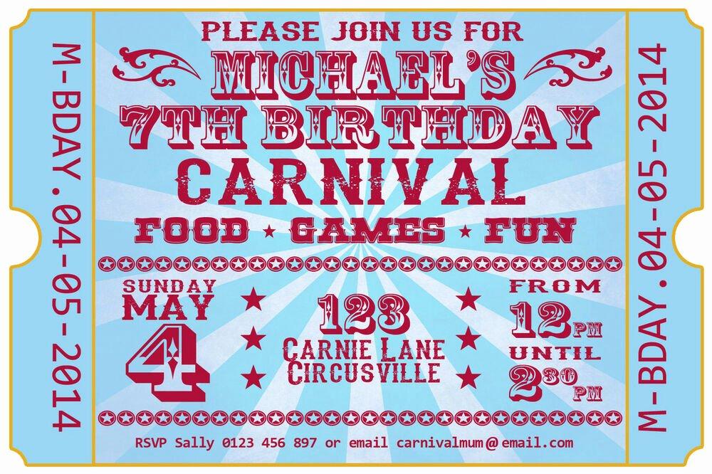 Carnival Ticket Birthday Invitations Best Of Carnival Festival Ticket Birthday Party Invite Invitation
