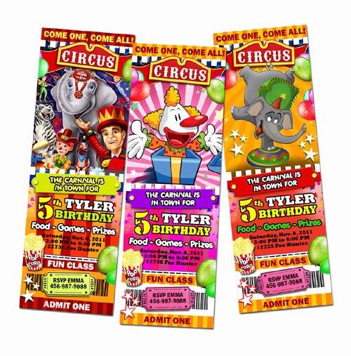 Carnival Ticket Birthday Invitations Elegant Circus Carnival Popcorn Birthday Party Invitation Ticket