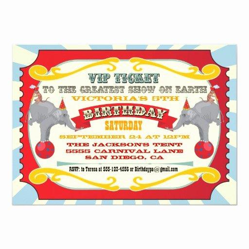 Carnival Ticket Birthday Invitations Elegant Circus or Carnival Ticket Birthday Invitation