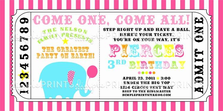 Carnival Ticket Birthday Invitations Fresh Circus Carnival Ticket Printable Invite Dimple Prints Shop