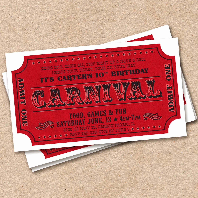 Carnival Ticket Birthday Invitations Fresh Printable Carnival Ticket Invitation Circus Birthday Party