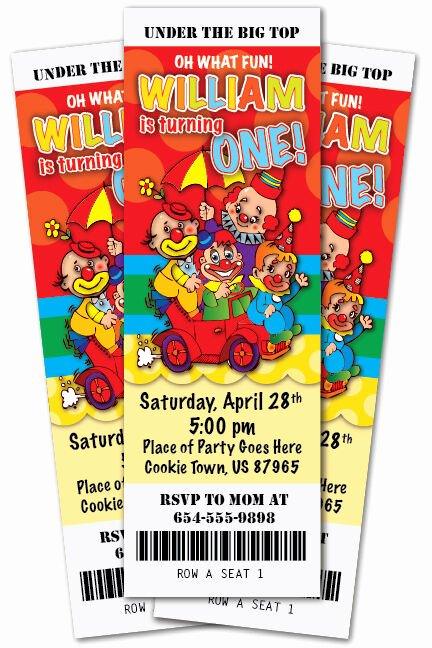 Carnival Ticket Birthday Invitations Inspirational Circus Clown 1st Birthday Party Invitation Ticket Stub
