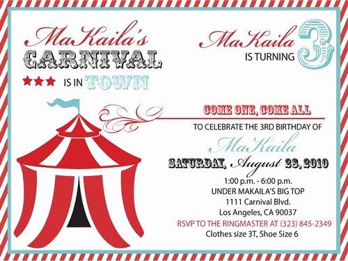 Carnival Ticket Birthday Invitations Luxury Ideas Carnival Birthday Invitations