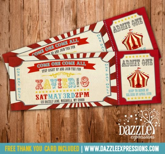 Carnival Ticket Birthday Invitations Luxury Printable Vintage Circus or Carnival Birthday Ticket