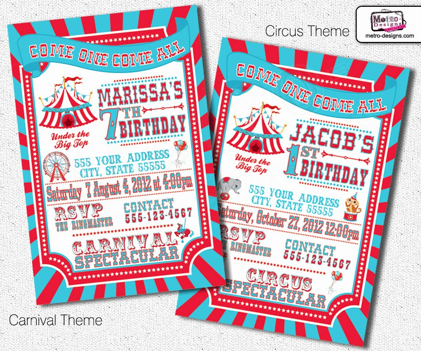 Carnival Ticket Birthday Invitations Luxury Traditional Carnival and Circus Invitations On Storenvy