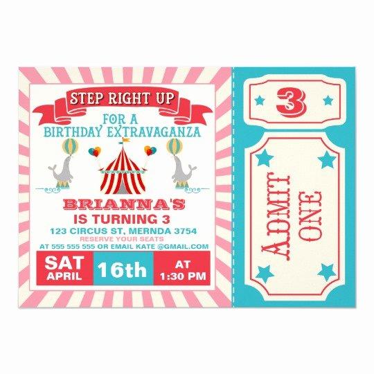 Carnival Ticket Birthday Invitations New Girls Circus Ticket Birthday Party Invitation