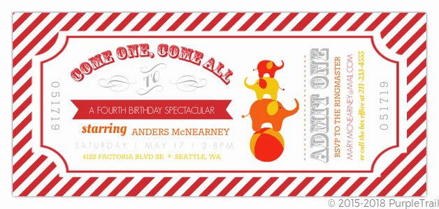Carnival Ticket Invitation Awesome Carnival Admission Ticket Birthday Invitation