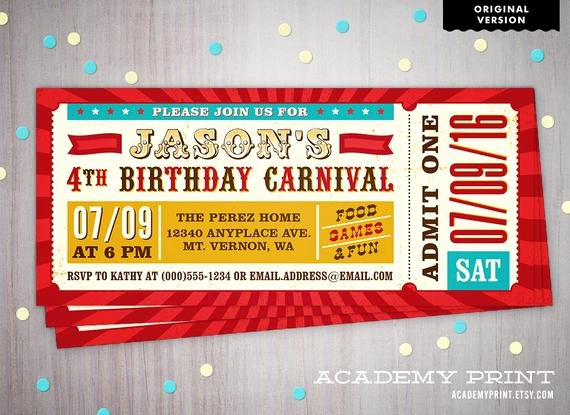 Carnival Ticket Invitation Beautiful Printable Children S Birthday Carnival Ticket Invitation