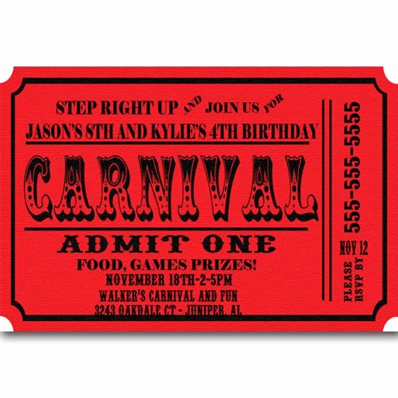 Carnival Ticket Invitation Fresh Carnival Ticket Birthday Party Invitations by Partiesr4fun