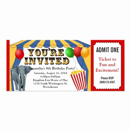 Carnival Ticket Invitation Inspirational Circus Carnival Ticket Custom Invitations