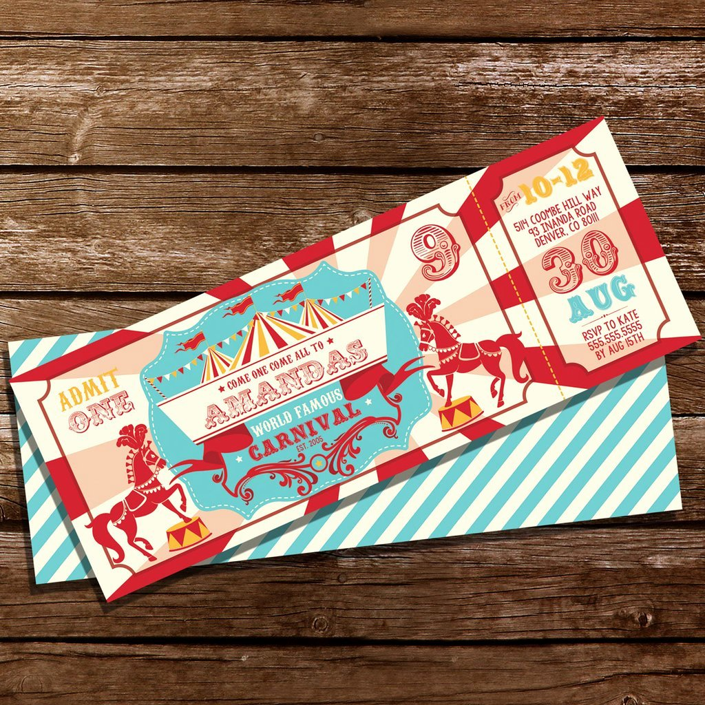 Carnival Ticket Invitation Lovely Backyard Carnival Party Ticket Invitation