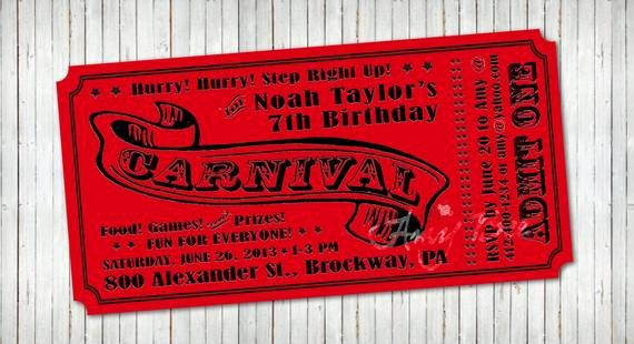 Carnival Ticket Invitation Lovely Carnival Ticket Invitation Printable