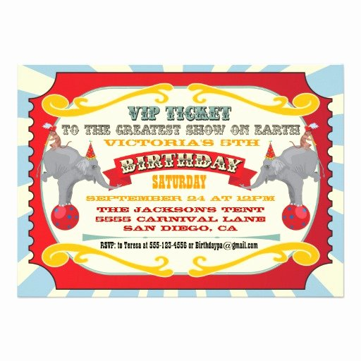 "Carnival Ticket Invitation Lovely Circus or Carnival Ticket Birthday Invitation 5"" X 7"