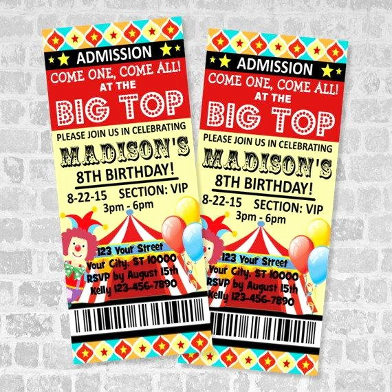 Carnival Ticket Invitation Lovely Circus Ticket Invitations Circus Carnival Birthday Party