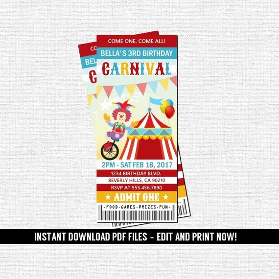 Carnival Ticket Invitation Luxury Carnival Ticket Invitation Birthday Party Circus Amusement
