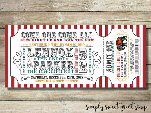 Carnival Ticket Invitation Luxury Circus Invite Invitation Carnival by Simplysweetprintshop