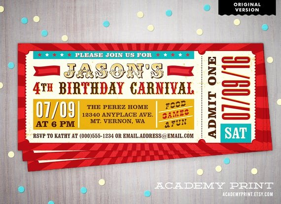 Carnival Ticket Invitation Luxury Printable Children S Birthday Carnival Ticket Invitation