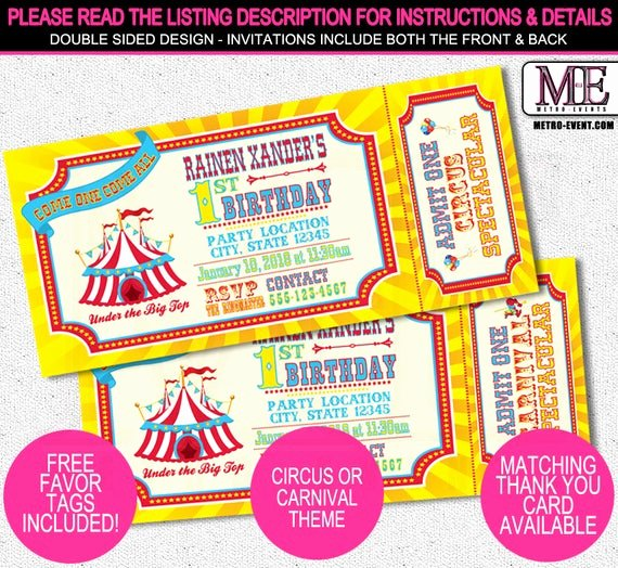 Carnival Ticket Invitation Luxury Traditional Ticket Style Carnival or Circus Invitations